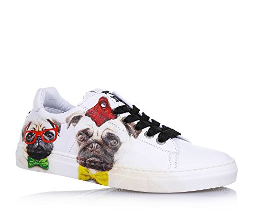 BE KOOL - Weißer Schuh mit Schnürsenkeln aus Leder, von der Welt der Street Art inspiriert, Metallösen, Jungen