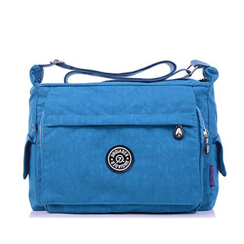 Blue Womens Sports Messenger Cross Multiple Sea Zipper Bag Shoulder Bag TianHengYi Nylon body Pockets Fabric Light UPZwxdWqB