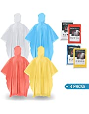 SaphiRose Disposable Ponchos (4/8/12/20 Packs) for Adults Kids – 100% Waterproof Emergency Rain Ponchos with Hood – for Travel, Camping, Theme Park, Concert
