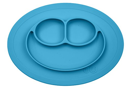 ezpz Mini Mat - One-piece silicone placemat + plate (Blue), One Size -