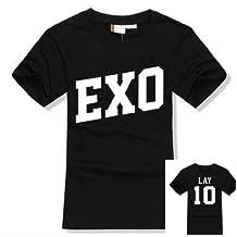 EXO Kpop SBS Costume T shirt Short Sleeve shirt accessories merchandise+ 2 pieces EXO Poster lomo card XOXO Wolf88 Sehun Luhan Tao DO Kris Xiumin Baek Hyun (Lay, XL)