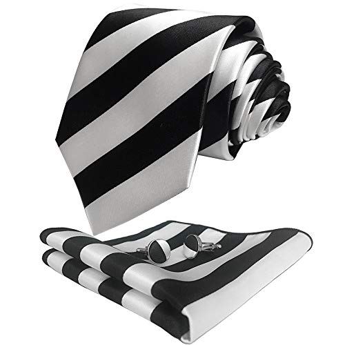 CANGRON Men Black White Stripes Tie Set Necktie with Pocket Square Cufflinks +Giftbox LST8HE