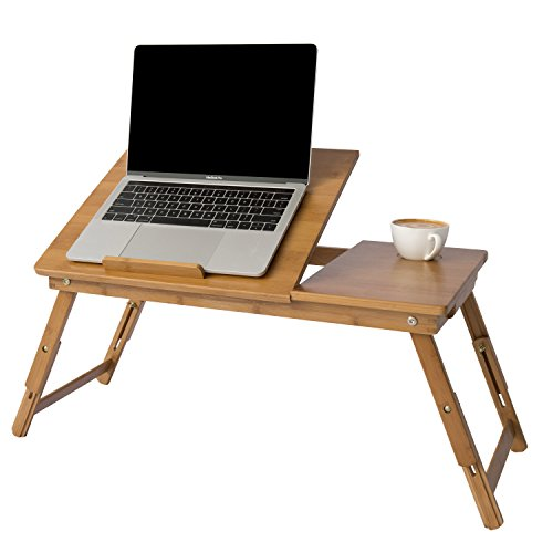 - MyGift Height & Angle Adjustable Laptop Desk, Bamboo Brown Wood Folding Breakfast In Bed Table w/ Side Drawer