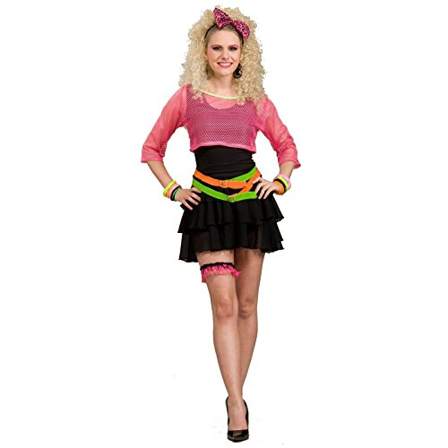 Women's 80's Groupie Costume, Pink/Black, One Size (The 80s Outfits)