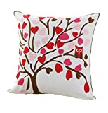 ZUODU Cushion Cover for Home Love Tree Embroidered Cotton Linen Plant Pillow Cover Cushion Cover Pillow Case 45cmx45cm(Plant-1)