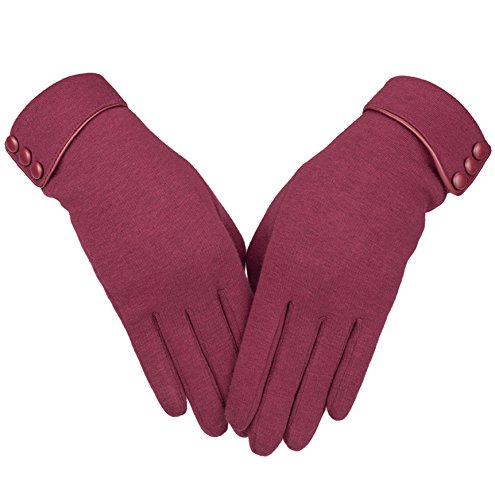 Knolee Women's Screen Gloves Warm Lined Thick Touch Warmer Winter Gloves,Wine red -