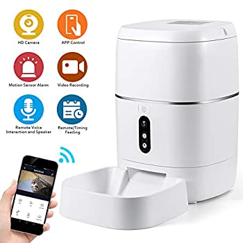 Image of CrazyFire 6L Automatic Cat Feeder,Automatic Dog Feeder with APP Control,1080P HD Camera,Motion Sensor Alarm,Live Video and Audio Communication,Programmable Automatic Pet Feeder for Cat,Dog Pet Supplies