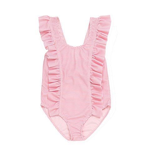 (3-18 Months Girls,Yamally_9R Infant Kids Girls Striped Bikini Ruffles Swimwear Jumpsuit Swimsuits (12M, Pink))