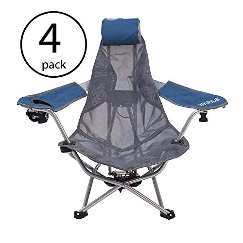 (Kelsyus Mesh Folding Backpack Beach Chair with Headrest, Blue and Gray (4 Pack))