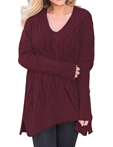 Shawhuwa Womens V Neck Long Sleeve Loose Knit Sweater Pullover Top S (New Knit Sweaters)