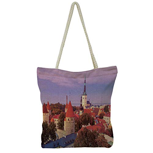 - iPrint Hand Cotton and Linen Bag Shoulder Bag,Cityscape,Aerial Scenery on Prague Bridges at Sunset Gothic Medieval Buildings European Deco,Multi,3D Print Design.