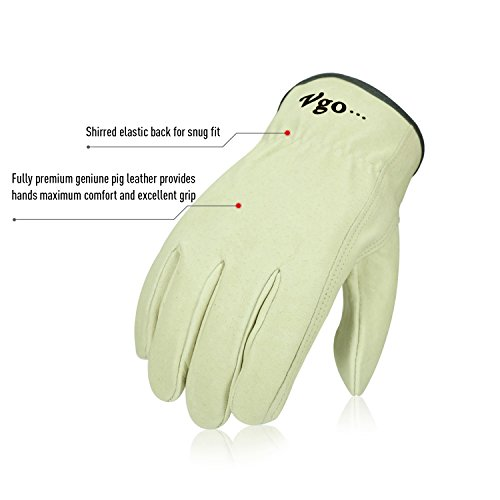 Vgo 3Pairs Unlined Men's Pigskin Leather Work Gloves, Drivers Gloves(Size XL,Light Cyan,PA9501) by Vgo... (Image #1)