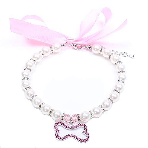 SKS PET TM Dog Cat Pearls Necklace Collar Bling Accessories Ribbon Bone Charm Pendant Pet Puppy Jewelry for Female Puppy Chihuahua Yorkie Adjustable Handmade (XL, Pink)
