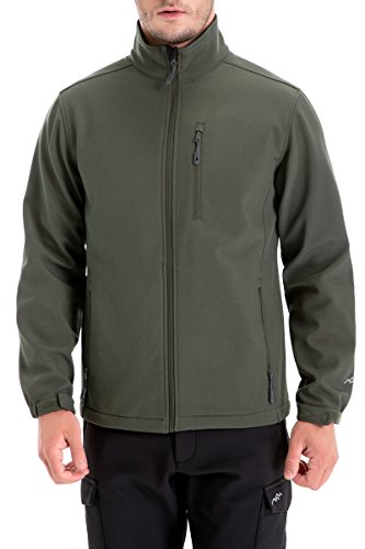 Trailside Supply Co. Men's Softshell Jacket Zip-Front Fleece-Lined Winter Windproof Outerwear(Olive-S)