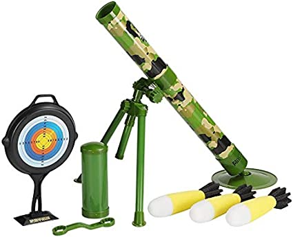 TeganPlay Toy Mortar Launcher for Kids Rocket Shooting Blaster Military Toy for Boys