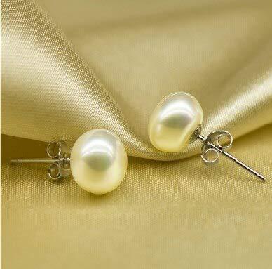 3 Color Hot 8-9Mm Big Size Freshwater Pearl Earrings Stud Jewelry Graceful Jewellery (Purple)