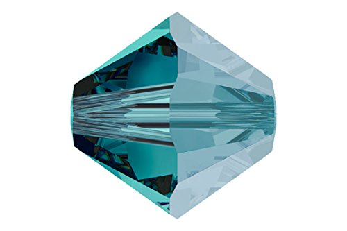 36 pcs Swarovski Crystal Bicone 5301/5328 Beads, Blue Zircon Satin, 6mm