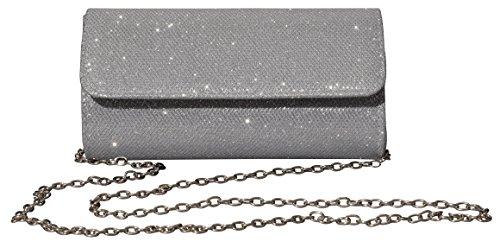 Girls Silver Handbag (Outrip Women's Evening Bag Clutch Purse Glitter Party Wedding Handbag with Chain (Silver))