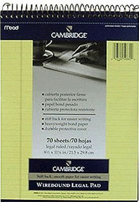 (Mead Cambridge Canary Legal Wirebinder Pad (3-Pack))