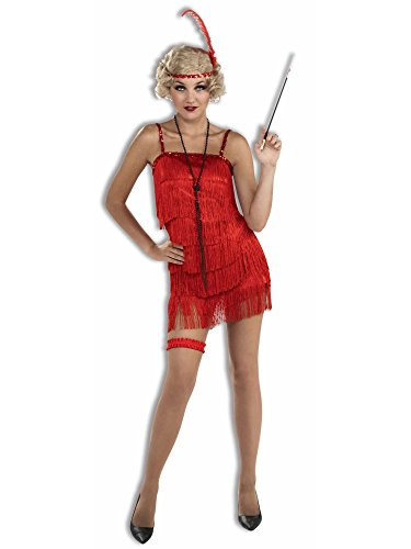 On The Fringe Sexy Flapper Costumes (Red Flirty Flapper Adult Costume - XS/Small)