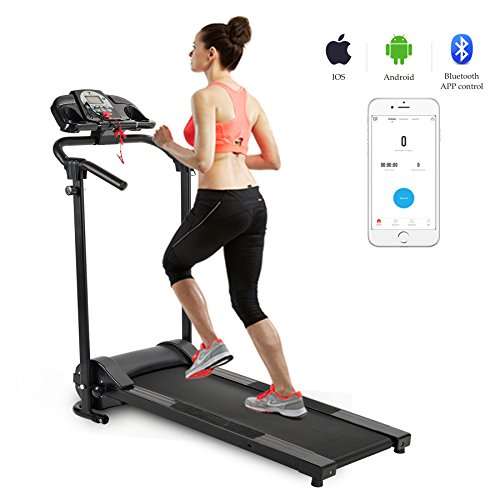ZELUS Folding Treadmill Electric Motorized Running Machine Home Gym with Sports App, Cup Holder & MP3 Player