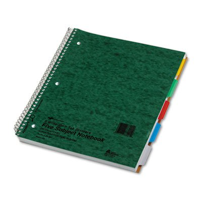 (5-Subject Wire Notebook, College Rule, 11 x 8-7/8, White, 200 Sheets, Sold as 1)