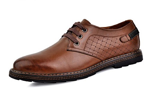 HAPPYSHOP(TM) Mens Leather Round Toe Casual Fashion Penny Loafers Car shoes boots Shoes Brown WS8FzkL8K