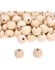 VABNEER Wooden Bead, 100Pcs Natural Beads Round Wood Beads for Crafts DIY Handmade Decorations Craft Making