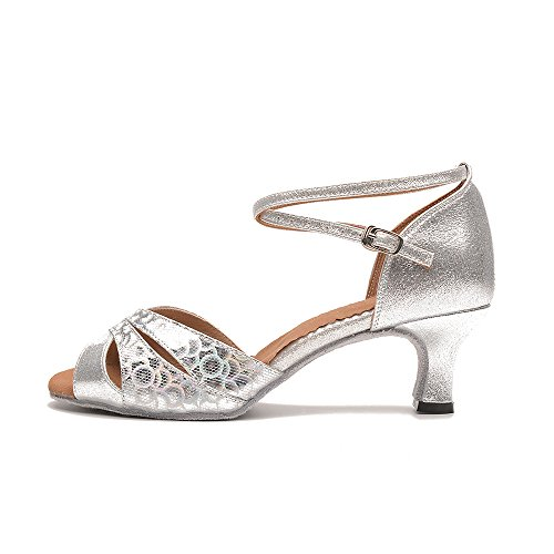 Women's Latin Dance Shoes with Soft Sole Female Latin Sandals Indoor Ballroom Dance Shoes (8 B(M) US, silver-outdoor)