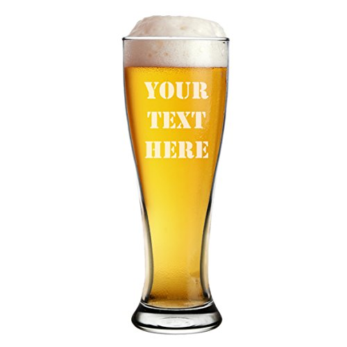 Etched Pilsner - Engraved 16oz Pilsner Beer Glass - Custom Personalized With Your Text