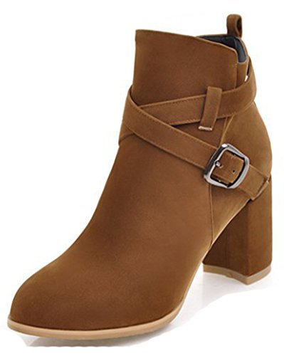 Aisun Womens Casual Mid Chunky Heel Dress Buckle Strap Inside Zip Up Ankle Boots Round Toe Booties Brown kx4Lr1D