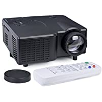 Alta Portable Mini LED Projector HDMI VGA USB LCD Image SD Slot & Remote - Black