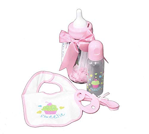 Baby Bottle Bank Gift Set - 6 Pieces for Baby Girl - Contains 9 oz Bottle, bib, teether, Fork and Spoon All in Bottle Bank - Pink Cupcake