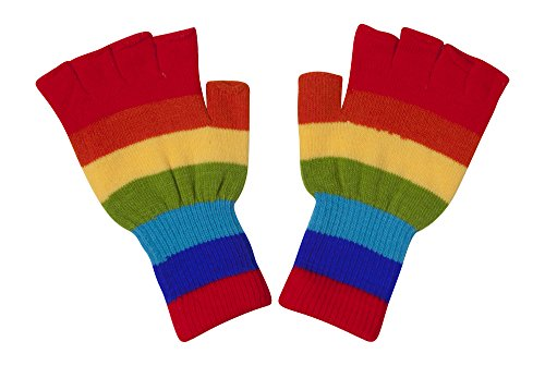 Tipless Gloves (Gravity Threads Unisex Warm Half Finger Stretchy Knit Gloves, Rainbow)