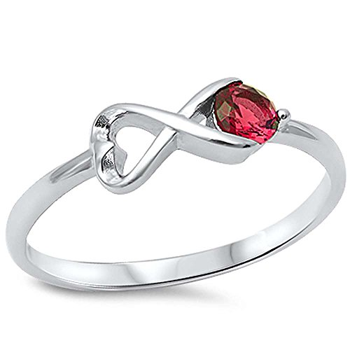 (Oxford Diamond Co Heart Shape Infinity w/Simulated Ruby .925 Sterling Silver Ring size 5)