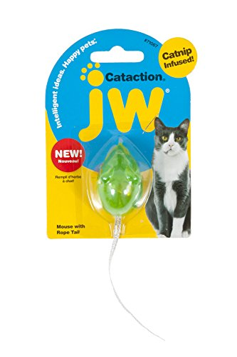 Petmate JW Cataction Mouse with Bell & Tail Toy, Multicolor