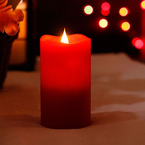 3D Moving Flame Led Candle with Timer, Battery Operated Candle with Remote Control for Christmas Decoration, 3x5 Inch, Red