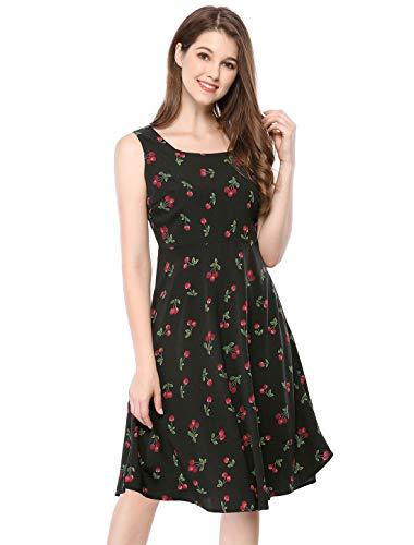Allegra K Women's Sleeveless Vintage 1950s Swing Cherry Print Midi Flare Dress Black XL (US 18) ()