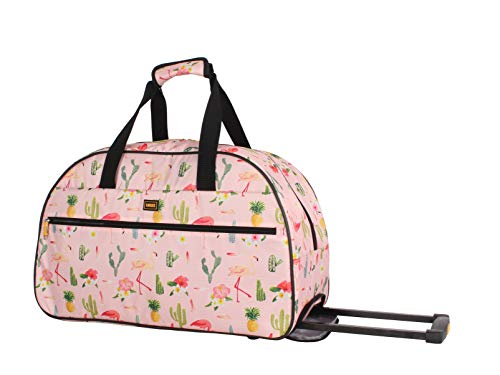 Lucas Luggage 22 Inch Printed Rolling Carry-On Suitcase Wheeled Duffel (22in, Flamingo)