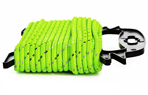 EhomeA2Z Super Bright 50 Foot Neon Green Reflective Rope 1/4 Inch Ideal For Camping, Boating, Fishing, Construction (1/4 Inch Neon Green) ()