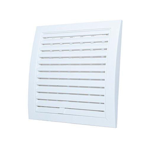 Blanc Grille da/ération 190/mm x 190/mm r/églable avec obturateur et moustiquaire 19,1/x 19,1/cm Ventilation Coque Grid Ow7