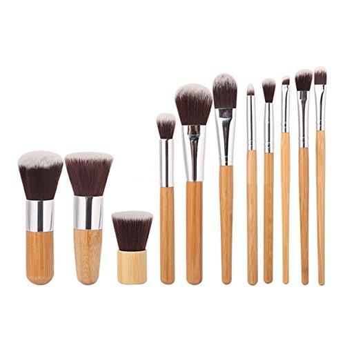 MAANGE 11 Pcs Bamboo Handle Makeup Eyeshadow Blush Concealer Brush (Pixiwoo Makeup Halloween)