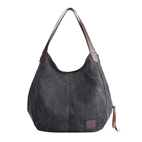 Women Girls Canvas Bag Shopping Handbag Shoulder Tote Bag Messenger Crossbody Boho Bag (Black) Weekender Cross Body