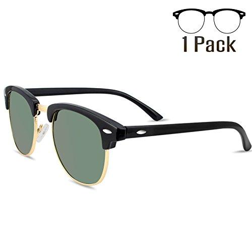 LIVHO G 2 Pack of Polarized Sunglasses Women Men Semi Rimless Frame Retro Classic Sun Glasses (Black Green) - G Man Costume
