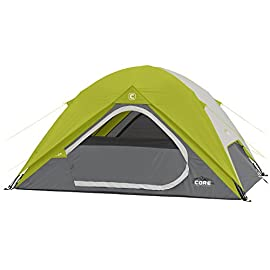 CORE Equipment 4 Person Instant Dome Tent - 9' x 7', Green 93 Instant 30 second setup; sleeps 4 people; fits one queen air mattress; center height: 54 Core H20 block technology and adjustable ground vent Features gear loft with lantern hook and pockets to keep items organized and off the tent floor