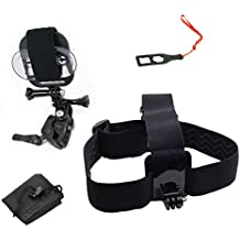 Action Mount - GoPro Style Sportsman's Mount & Head Mount Combo Set for Smartphone or GoPro: Clamp Attaches to Sports Fishing Rod, Bow, Shotgun, and More. Any Phone. (Black)