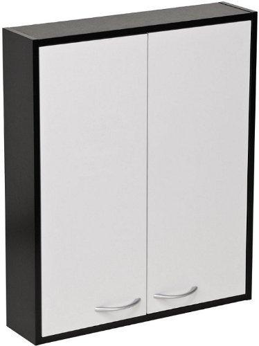 Bathroom Wall Cabinet Double Door Black White Melamine Finish