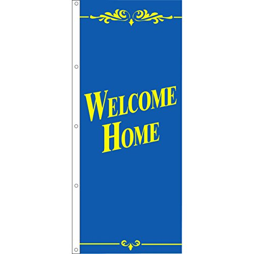 Welcome Home Flag, Blue/Yellow, 3' x 8'