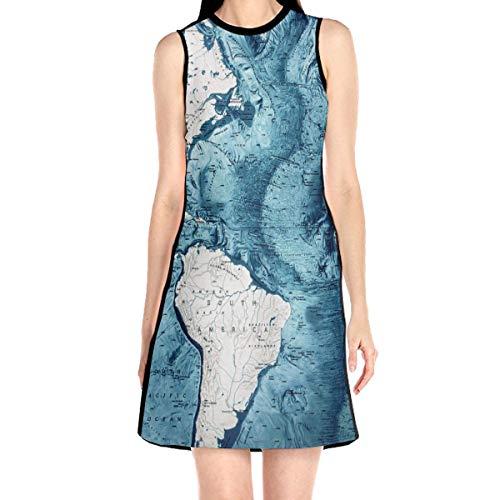 Atlantic Ocean Floor South America American Map Sleeveless Dress A-line Tunic Swing Dress Party Dress Dresses White -