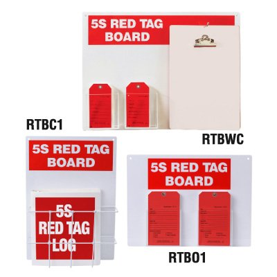 Steel Red Tag Stations - 18''h x 24''w, White 5S Red Tag Board by Emedco (Image #1)